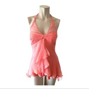 Laundry by Shelli Segal Pink Silk Halter Size L